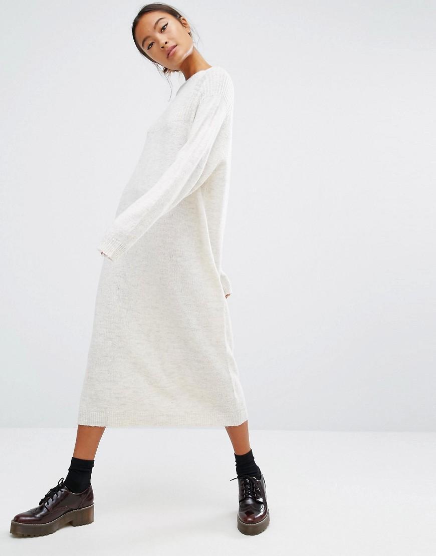 100% satisfaction guarantee lovely design hot sales Monki White Knitted Midi Jumper Dress