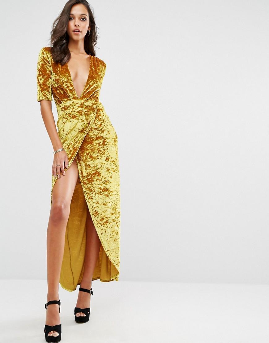 Boohoo Velvet Wrap Maxi Dress in Yellow