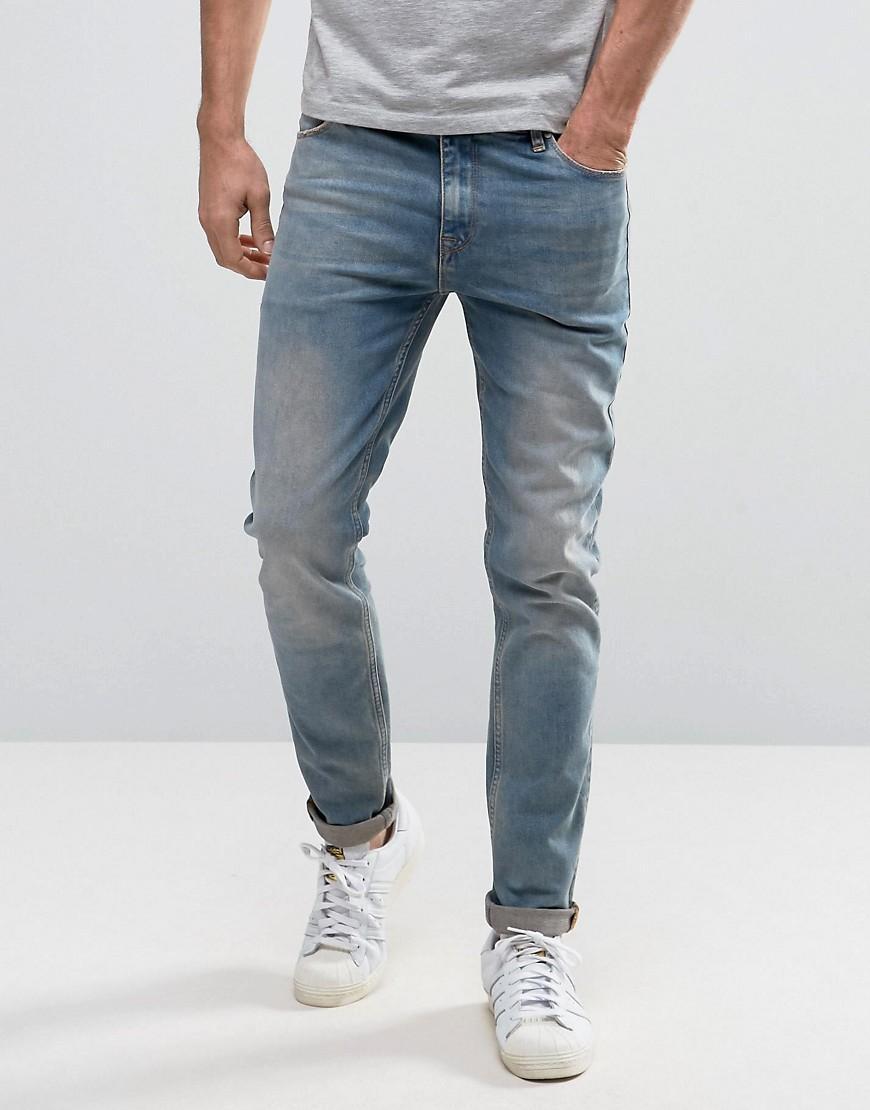 asos skinny jeans in dusky blue wash in blue for men lyst. Black Bedroom Furniture Sets. Home Design Ideas