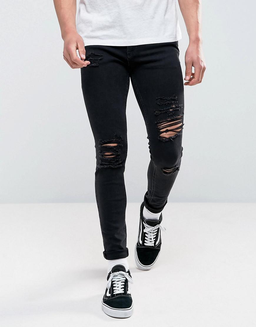 Jack   Jones Intelligence Jeans In Skinny Fit Ripped Black Denim in ... c5a0bdd097