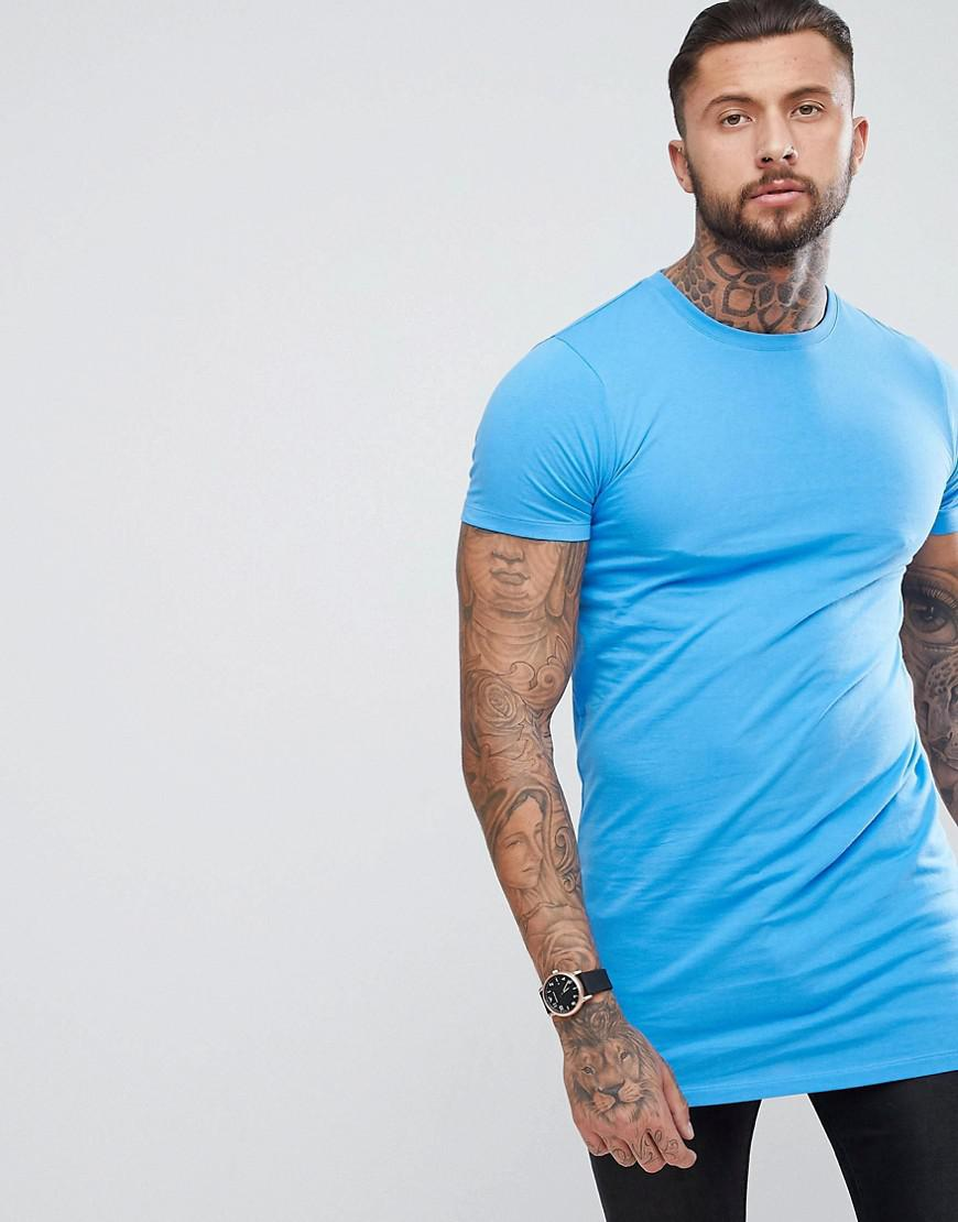 5ce53e5cdf65 ASOS Super Longline T-shirt In Blue in Blue for Men - Lyst