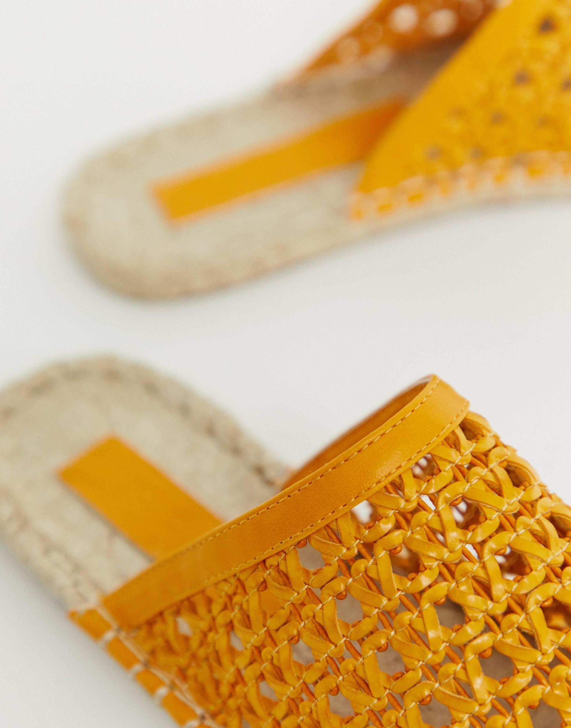 Mules de rafia tejida Jessy de ASOS de color Naranja