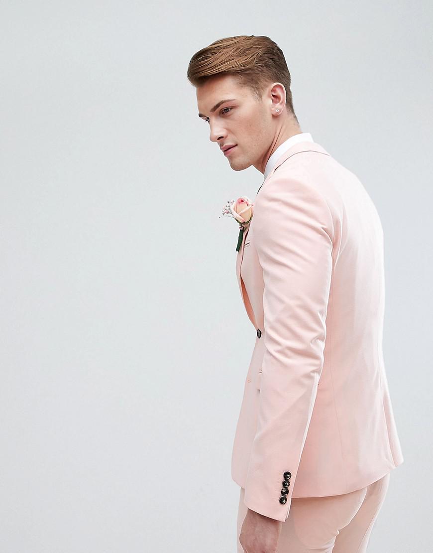 ASOS Asos Wedding Super Skinny Fit Suit Jacket In Pale Peach in Pink for Men