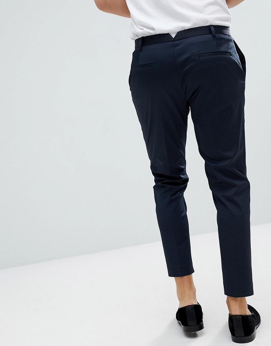 Heart & Dagger Tapered Pants With Mini Print in Navy (Blue) for Men