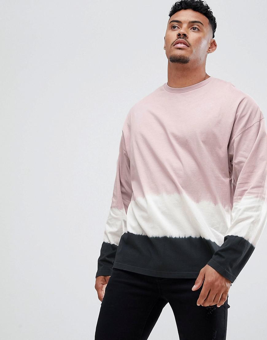 23119a0a96443 T-shirt long oversize effet dip-dye ASOS pour homme en coloris Rose ...