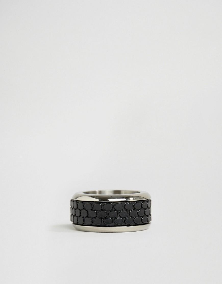 ALDO Rubber Textured Band Ring In Black for Men