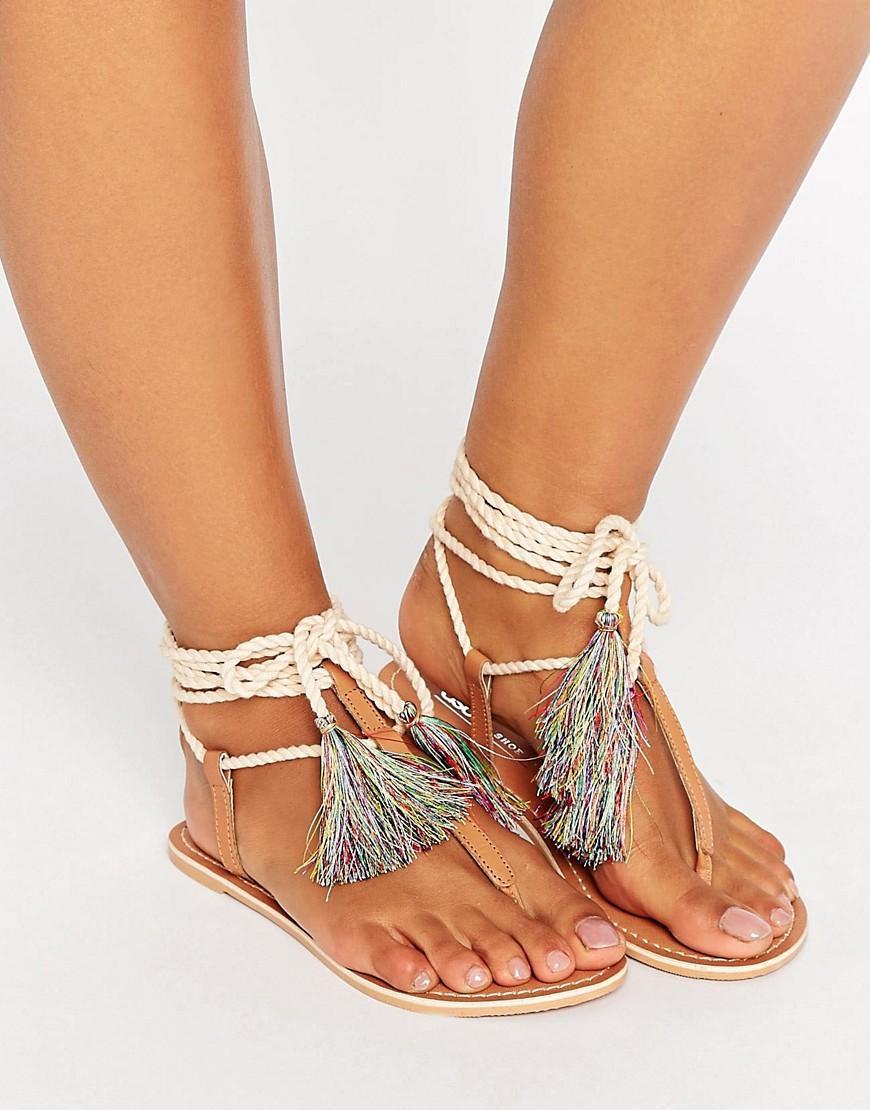 Asos Feature Leather Tie Leg Flat Sandals Lyst