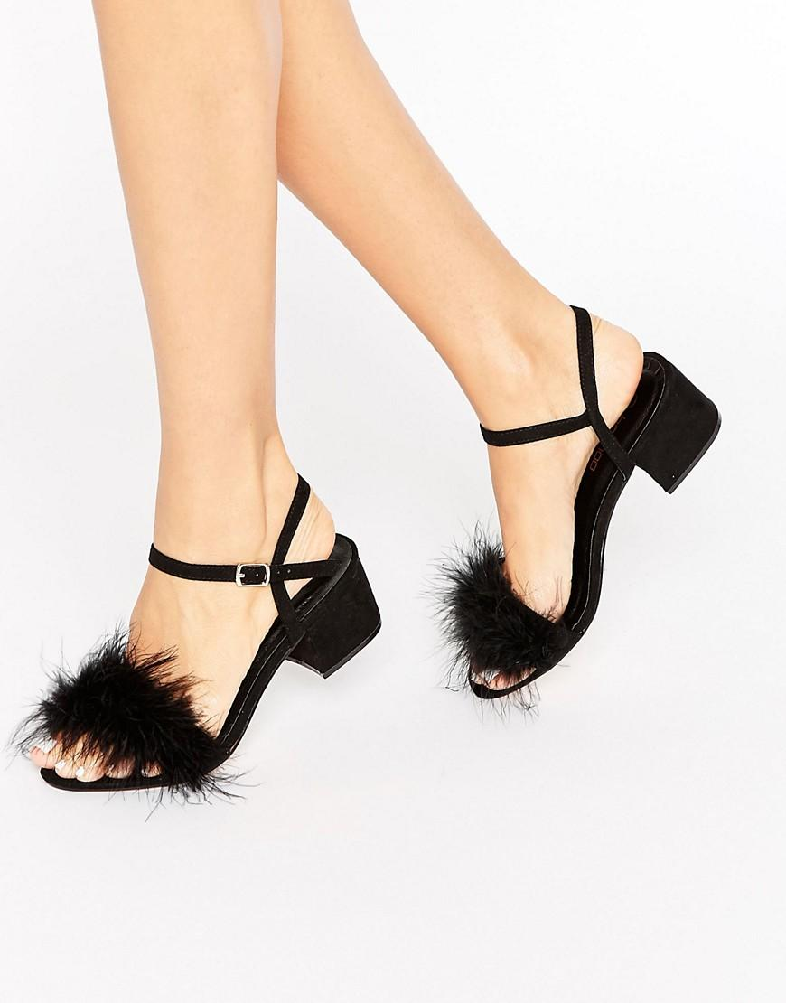 cb506057480 Boohoo Fluffy Trim Block Heel in Black - Lyst