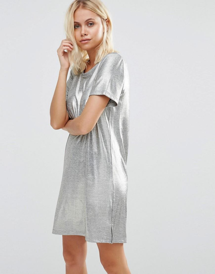 12dac5995ba8 Vila Metallic T-shirt Dress in Metallic - Lyst