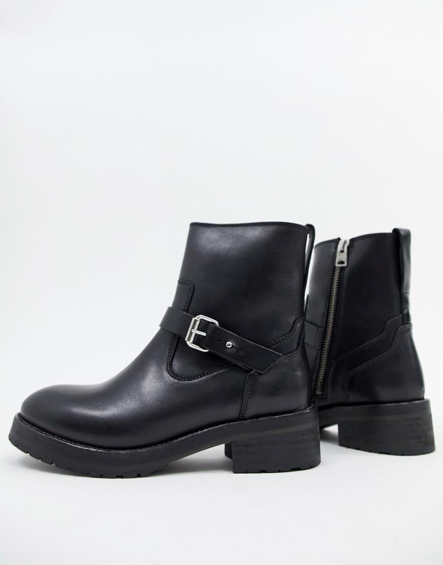 3f8de84e491116 Lyst - AllSaints Thea Buckle Boot in Black