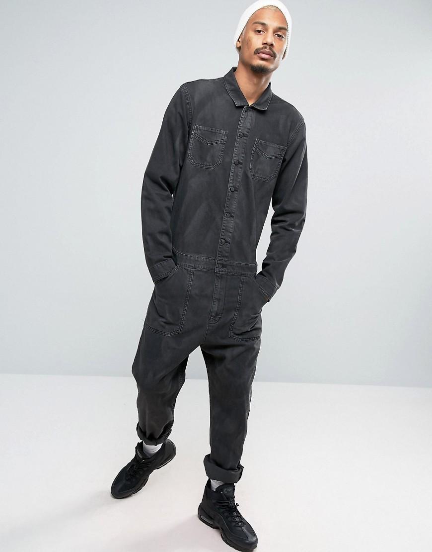 Asos Denim Boiler Suit In Washed Black In Black For Men Lyst