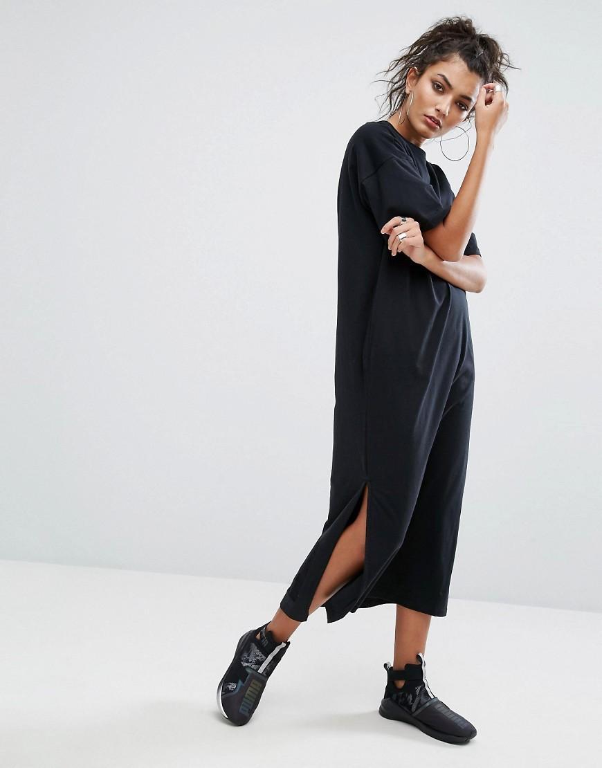 puma t shirt maxi dress in black in black lyst