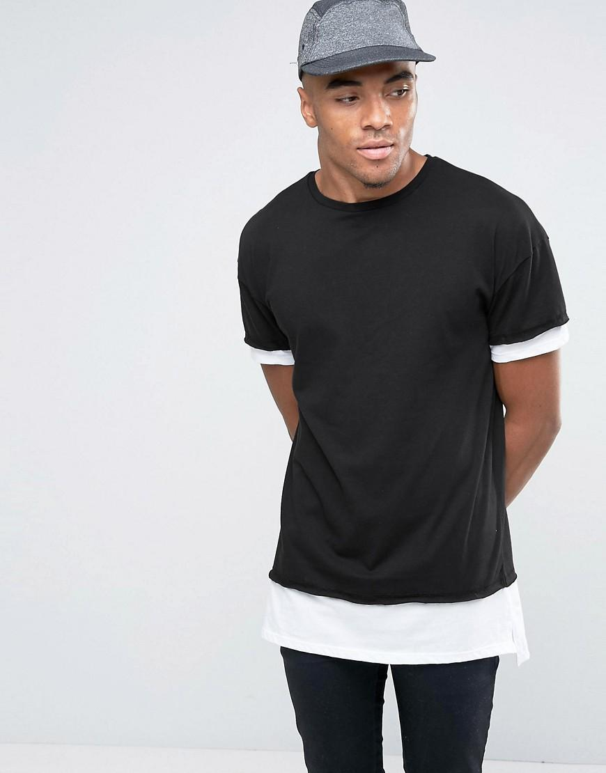 Lyst New Look Layered T Shirt In Black In Black For Men