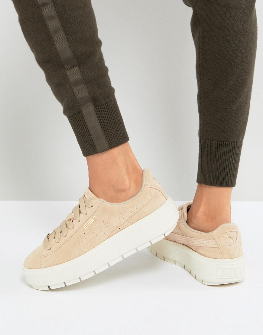 new arrival 07251 6935b PUMA Platform Trace Trainers In Sand With Contrast Sole in ...