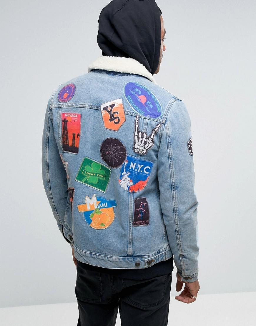 Lyst Asos Denim Jacket With Patches Amp Borg Collar In
