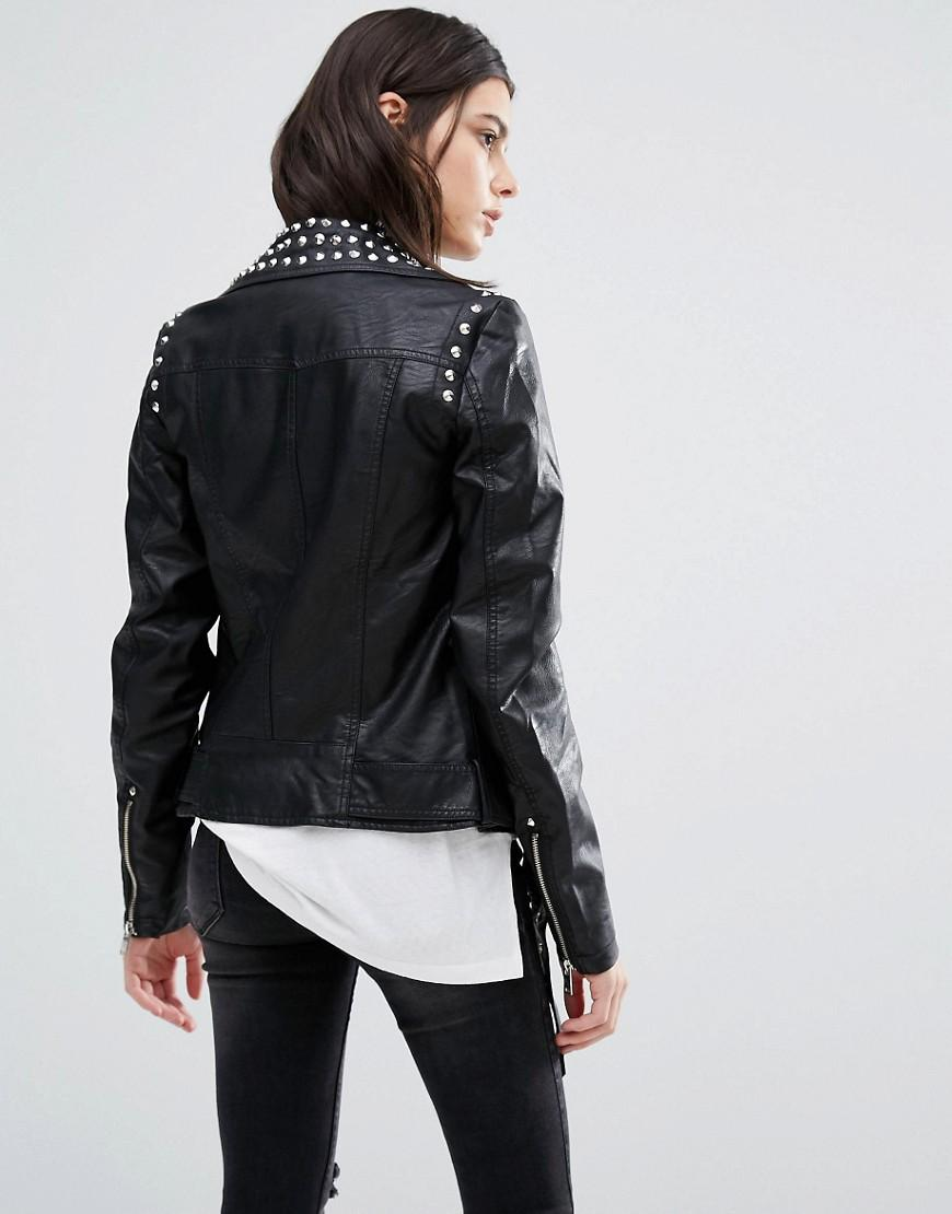 Lyst - Vero Moda Studded Leather Look Biker Jacket In Black
