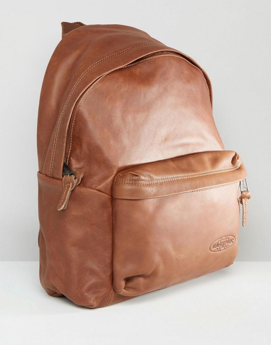 Leather Eastpak Backpack: Eastpak Padded Pak R Leather Backpack In Brown