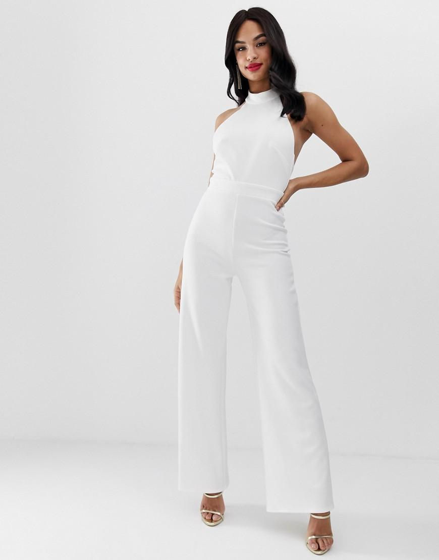 b468ce99e54 Lyst - True Violet Exclusive Wide Leg Halter Neck Jumpsuit In Ivory in White
