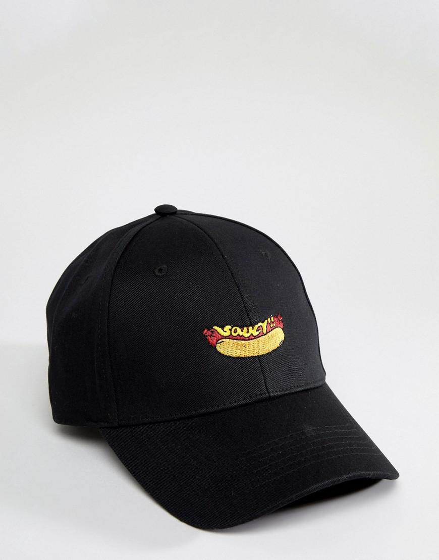 f2533ba41d8d3 Lyst - ASOS Baseball Cap In Black With Hot Dog Embroidery in Black for Men