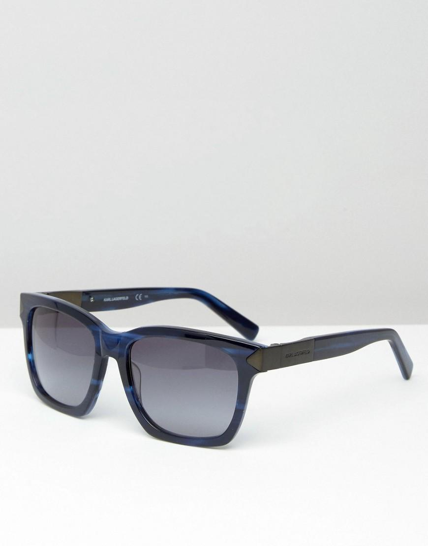 cb3588b19a Lyst - Karl Lagerfeld Square Sunglasses Blue Marble in Blue for Men