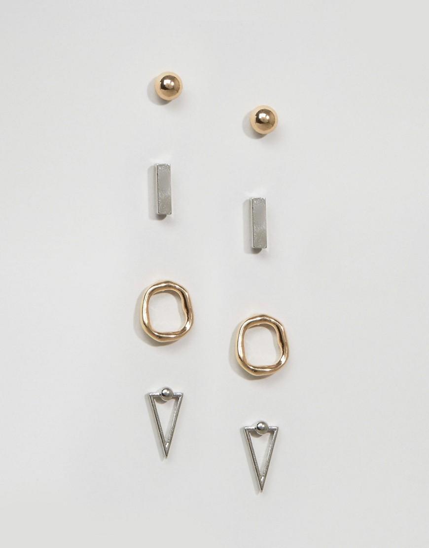 asos pack of 4 shape earring pack lyst