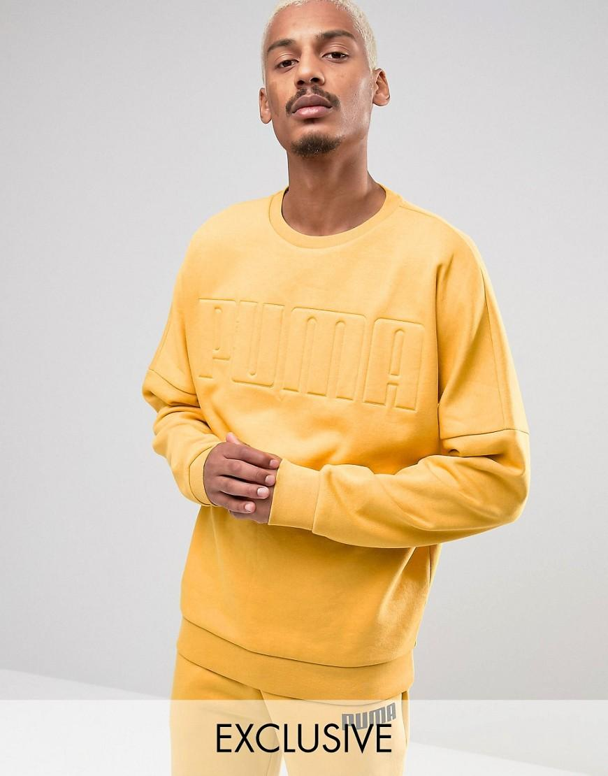 8b249dad PUMA Oversized Crew Sweatshirt In Yellow Exclusive To Asos for men