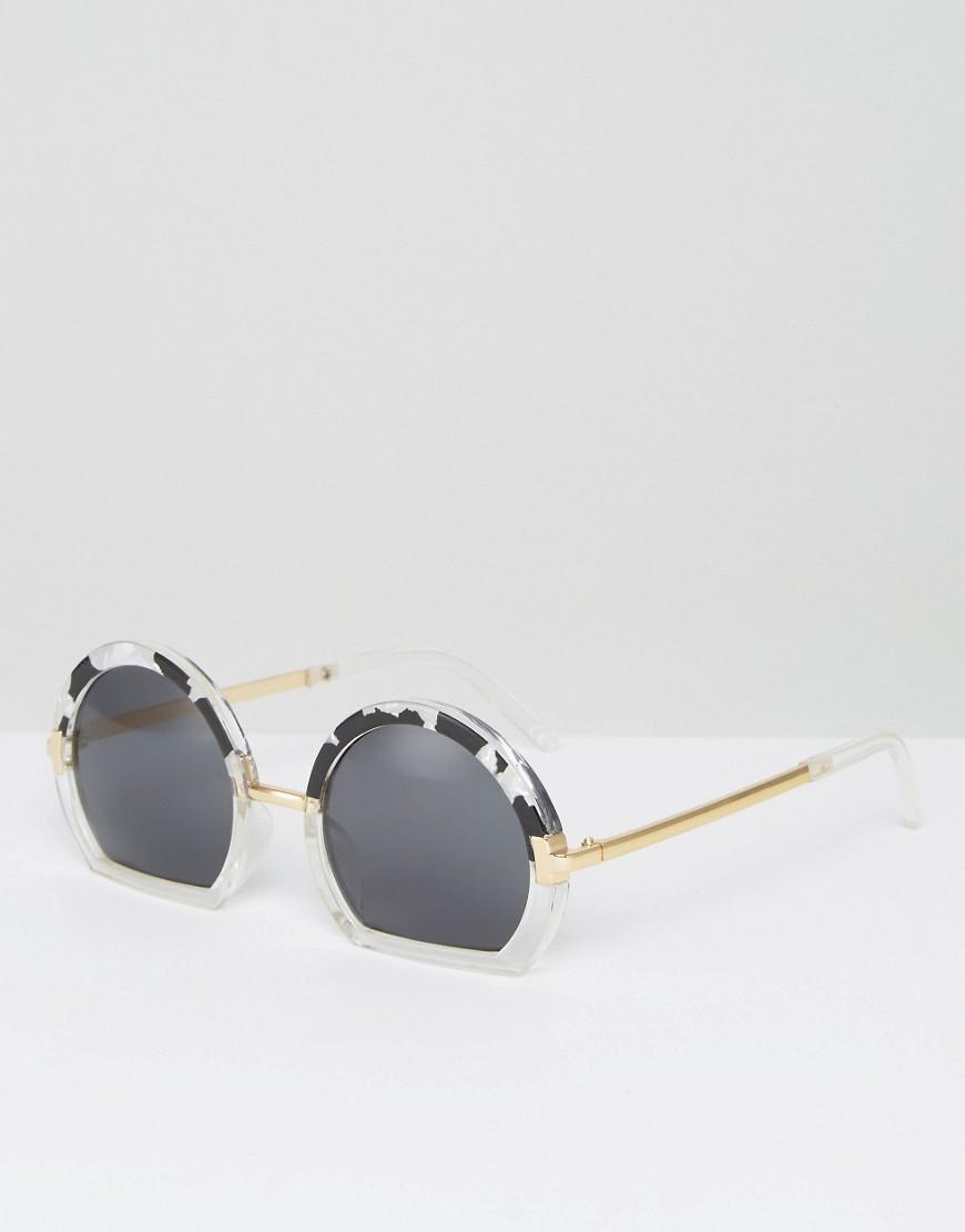 Glasses With Only Bottom Frame : Asos Round Sunglasses With Mixed Sliced Bottom Frame Lyst