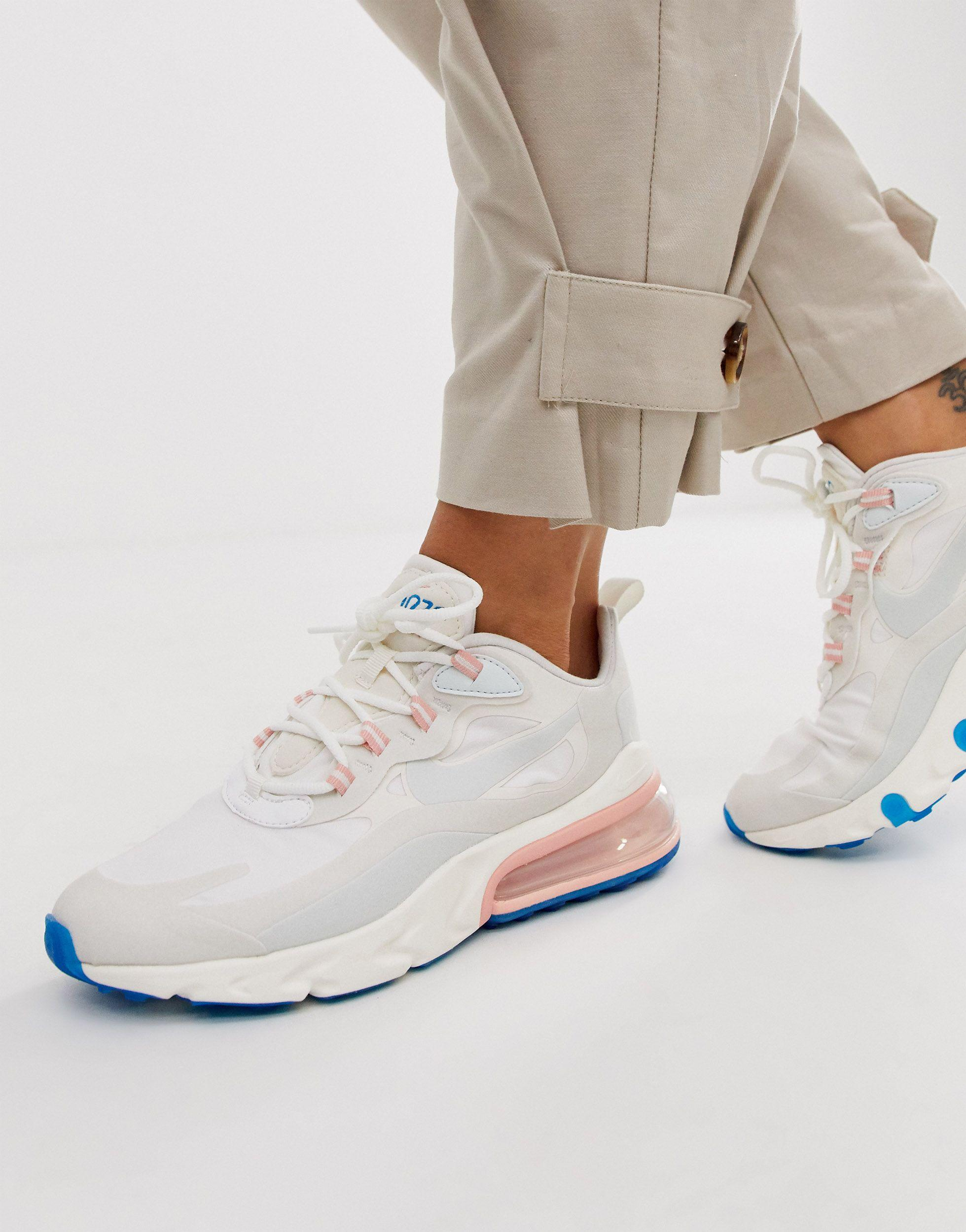 Nike Rubber White Pink And Blue Air Max 270 React Sneakers Lyst