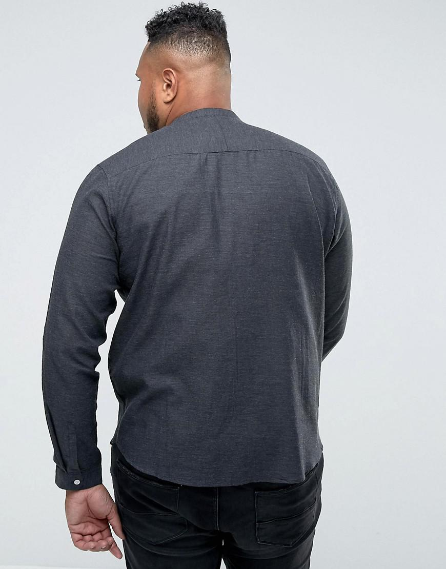 e866f786d1 Lyst - Bellfield Plus Shirt In Grandad Collar With Pockets in Gray for Men