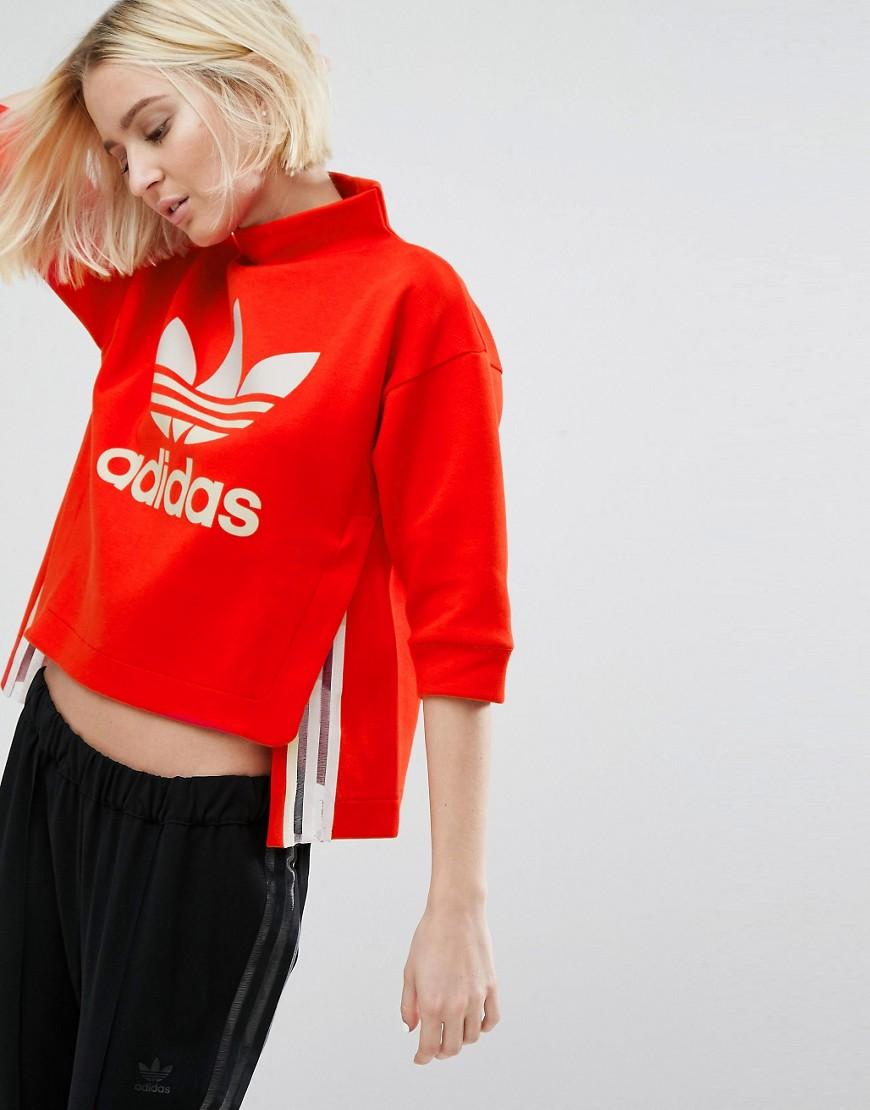 another chance store official Originals Paris Red High Neck Cropped Sweatshirt With Sheer Panels