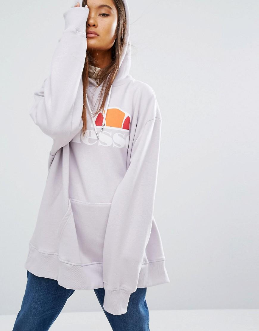 lyst ellesse oversized pull over hoodie with front logo in purple. Black Bedroom Furniture Sets. Home Design Ideas