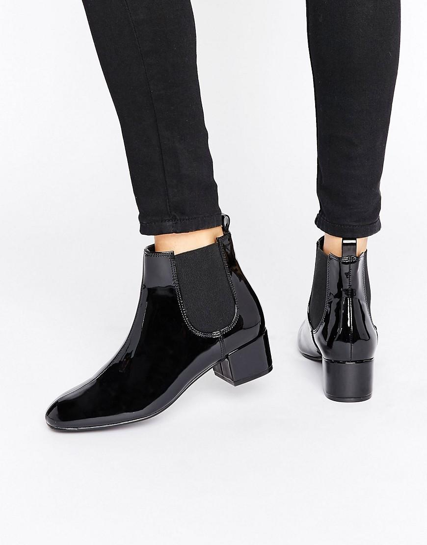 arrives huge inventory best value Monki Patent Chelsea Ankle Boot in Black - Lyst
