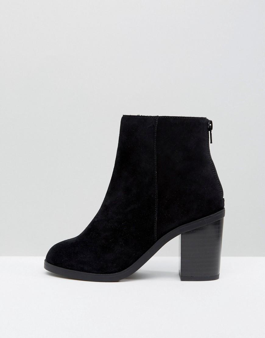 new look suede block heel boots in black lyst