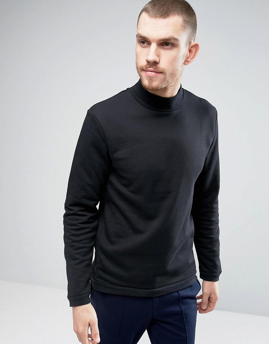 Casual friday sweatshirt with high neck in black for men for Mens dress shirts black friday