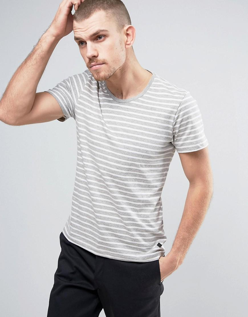 Casual friday t shirt in stripe in gray for men lyst for Grey striped t shirt