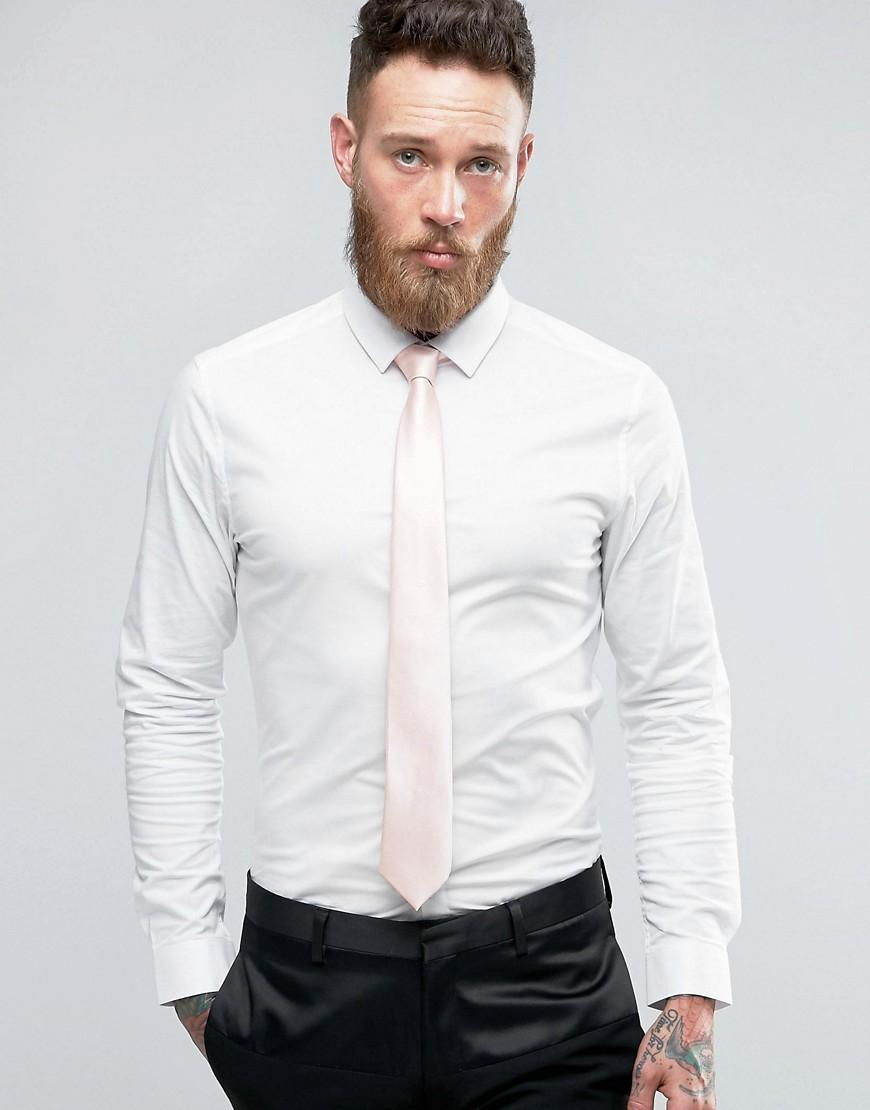 Asos Wedding Skinny Shirt In White With Pink Tie Save in White for ...