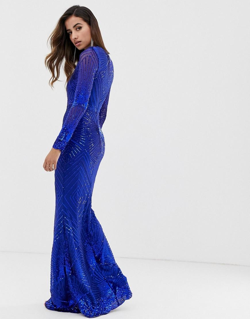 1b753de730a2 Goddiva Plunge Embellished Sequin Maxi Dress With Long Sleeves In Colbalt  in Blue - Lyst