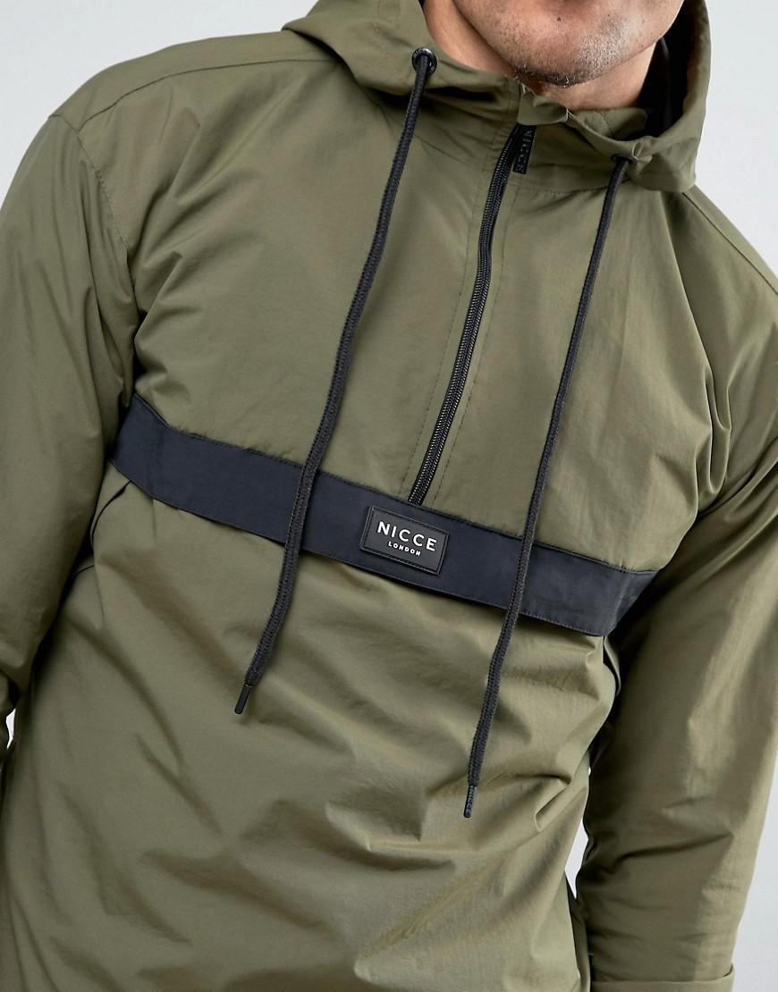 Nicce London Synthetic Overhead Jacket In Khaki in Green for Men