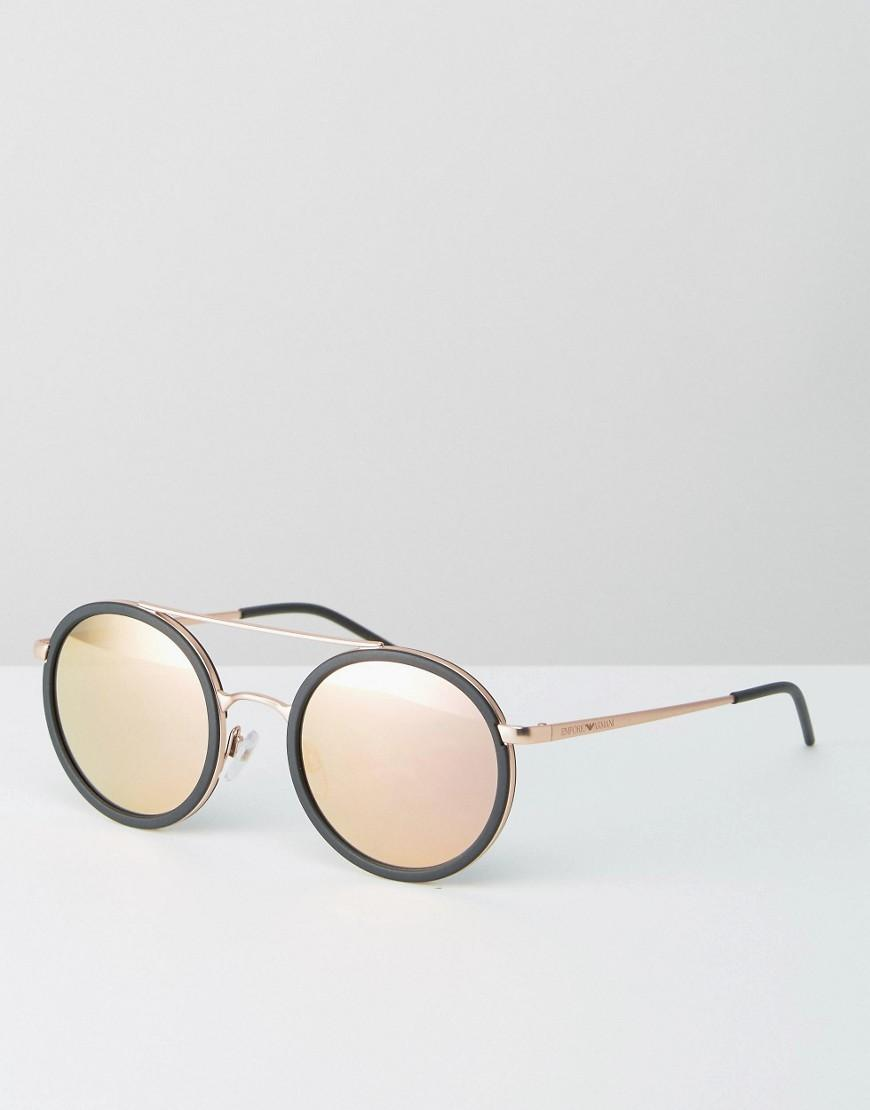 9d9b330bb6f7 Emporio Armani Round Sunglasses With Brow Bar And Rose Gold Lens in ...