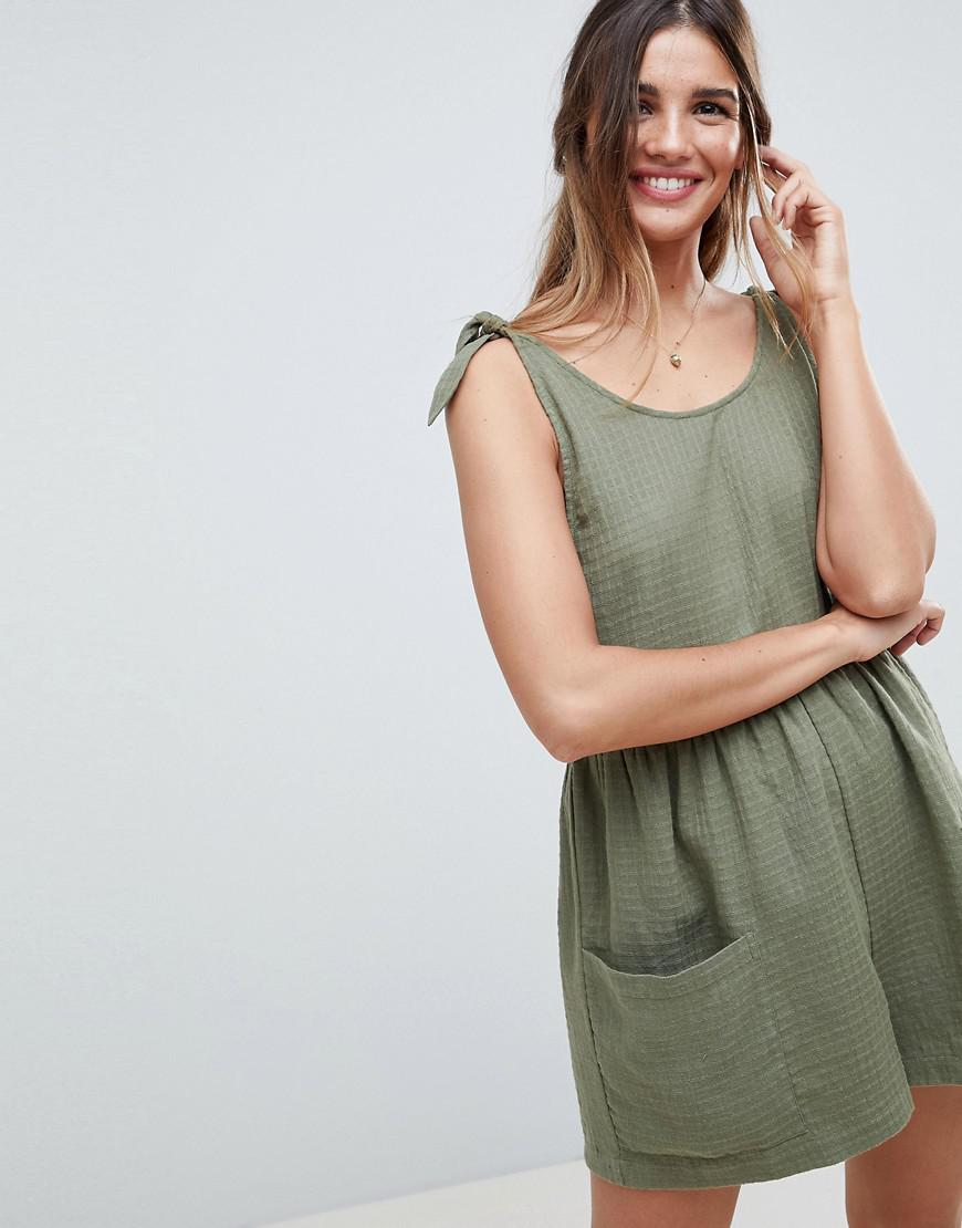 b74cb11a2955 Lyst - ASOS Smock Romper With Tie Shoulder in Green