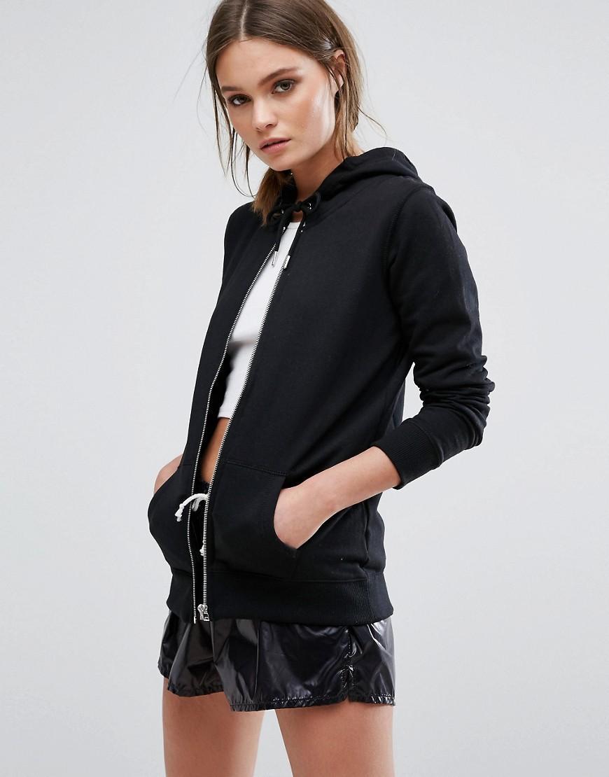 Lyst - New look Zip Up Hoodie Top in Black
