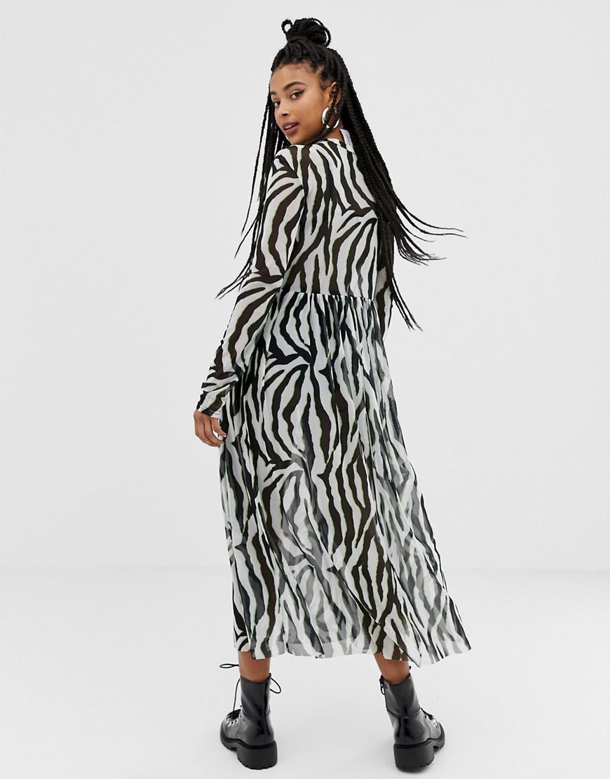 f95883c8a150b1 Collusion Zebra Print Mesh Maxi Dress - Lyst