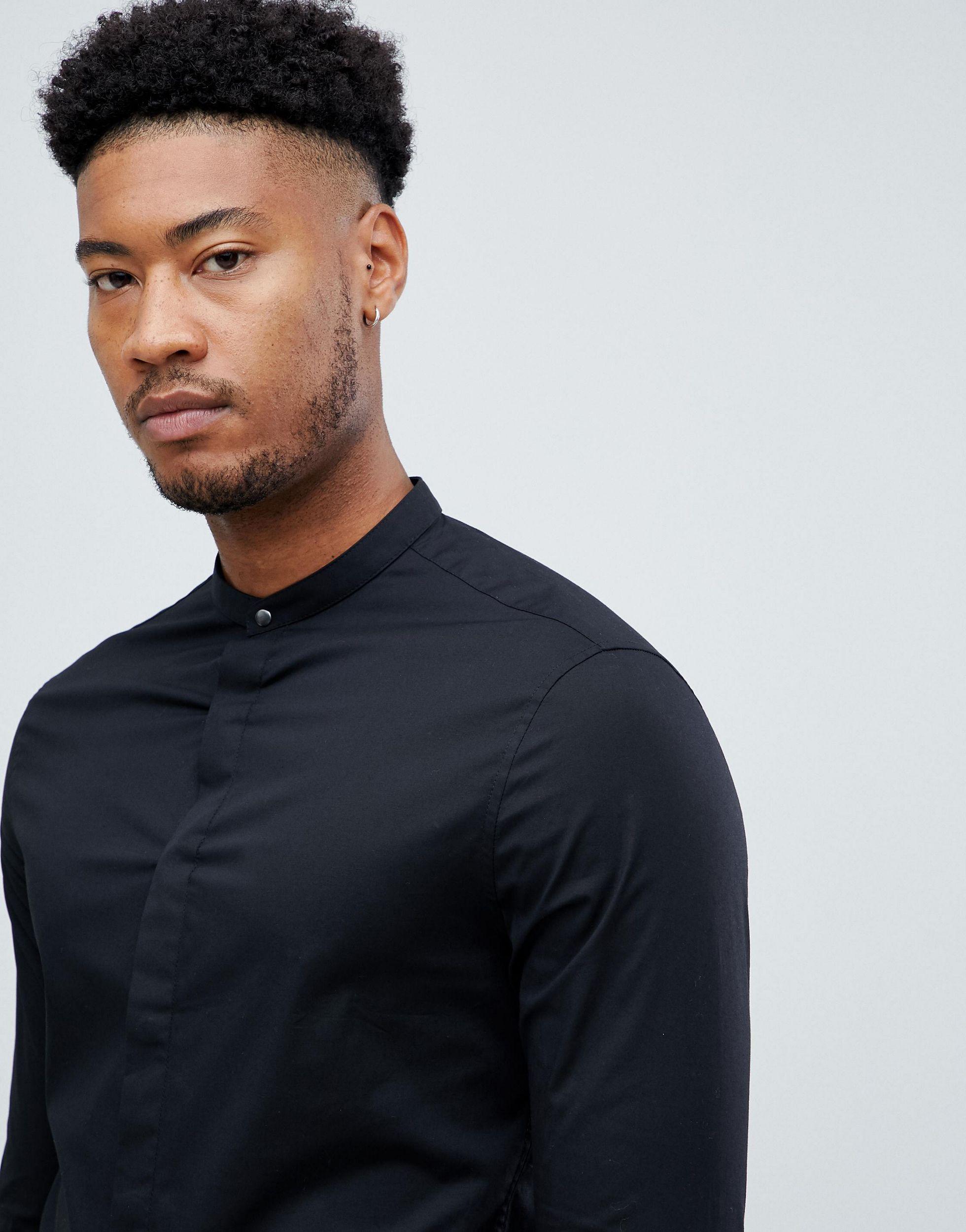 ASOS Katoen Tall - Skinny Overhemd Zonder Kraag En Drukknoop in het Zwart voor heren