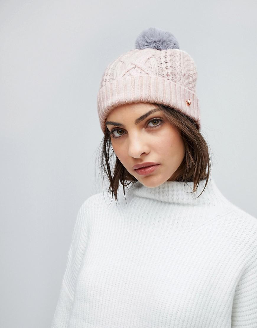 a0f0cbd7208 Lyst - Ted Baker Cable Knit Bobble Hat in Pink