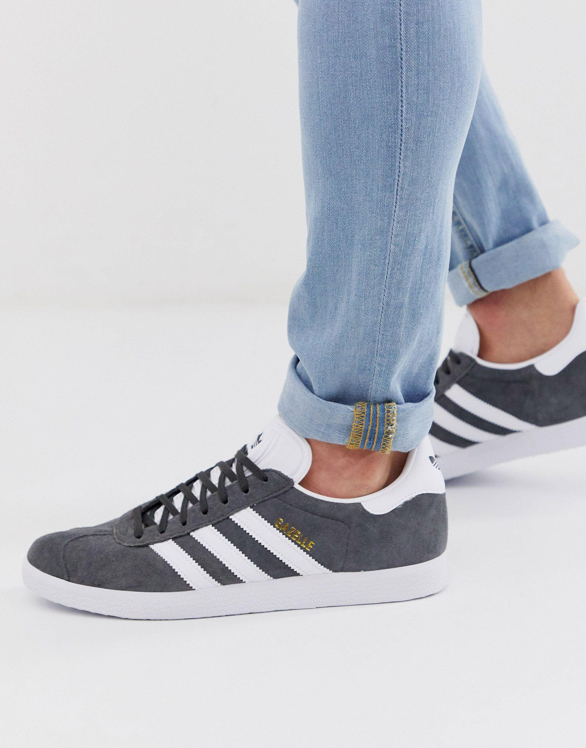 Adidas Originals Gray Gazelle Trainers for men