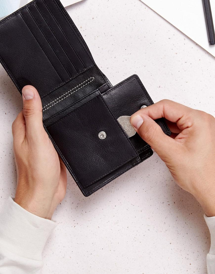 c06763c6ed75e1 ASOS Leather Wallet In Black With Elastic Holder in Black for Men - Lyst