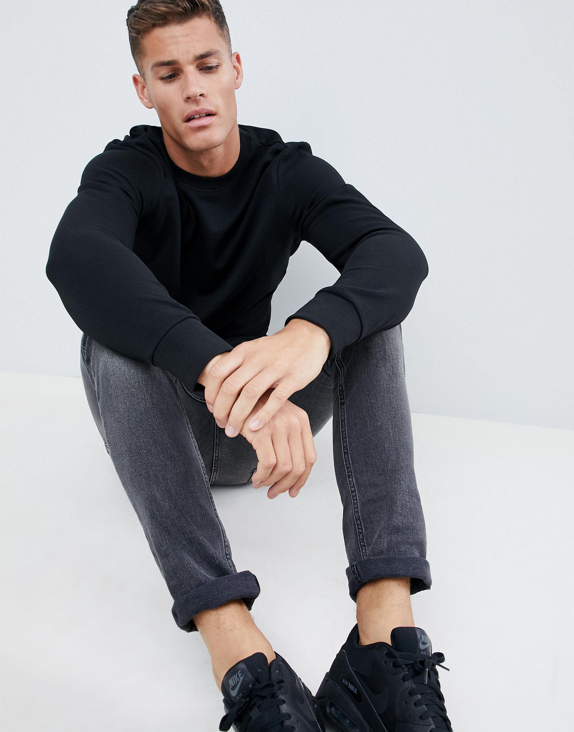 Jack & Jones Denim Essentials Sweatshirt in Black for Men