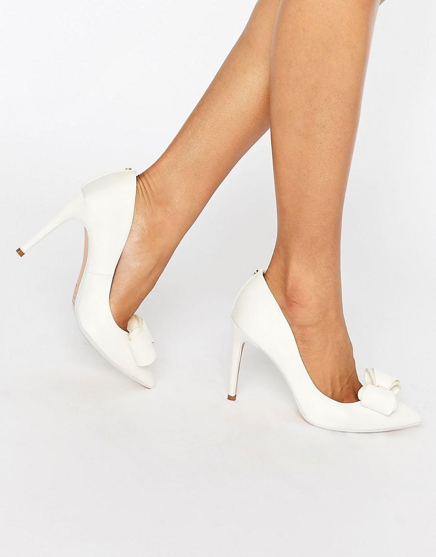 88bc1946e Lyst - Ted Baker Azeline Tie The Knot Ivory Bow Court Shoes in White