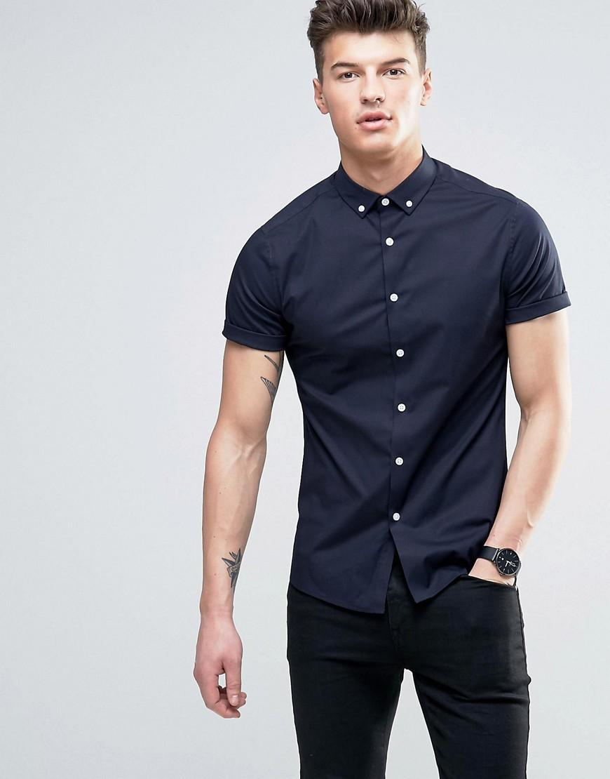 Asos Skinny Shirt In Navy With Button Down Collar In Blue