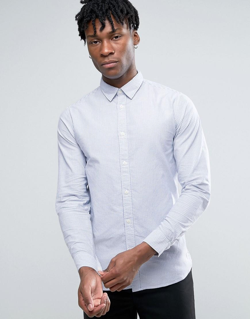 Selected long sleeve slim fit stripe oxford shirt with for Men oxford slim fit long sleeve shirt